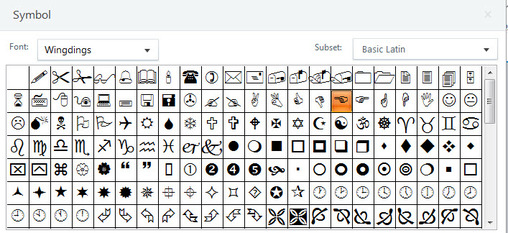 Wingdings Fonts consisting of symbols