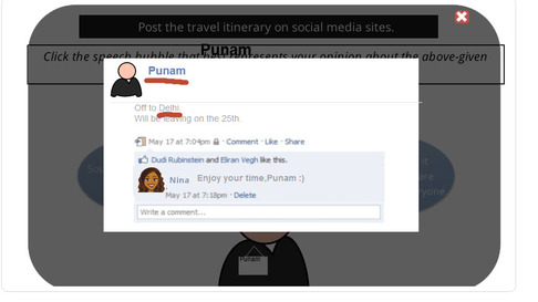 Facebook page displaying the learner's name 'Punam' and the text 'Off to Delhi'.