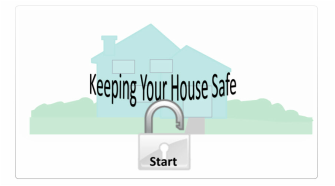 House in the background, Text 'Keeping House Safe' in the foreground