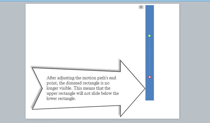 Screenshot of Articulate Storyline wherein the motion path of the upper rectangle is no longer sliding below the lower rectangle
