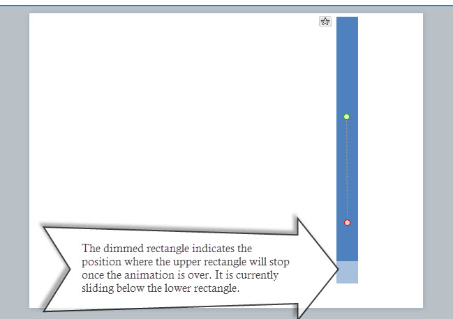 Screenshot of Articulate Storyline where the motion path of the upper rectangle is seen sliding below the lower rectangle