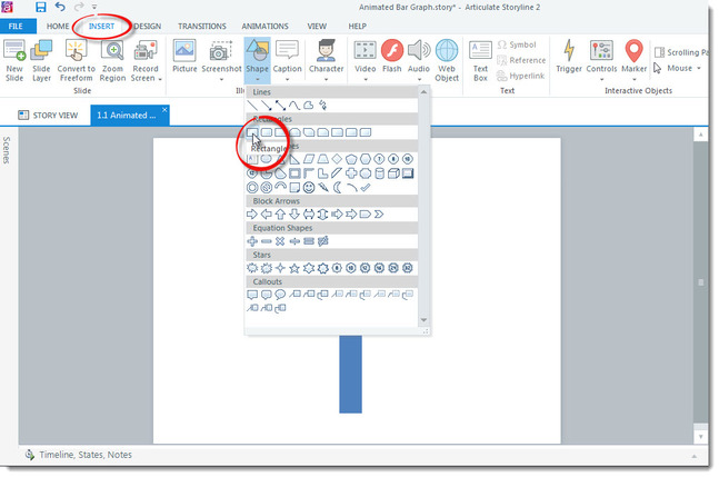 Articulate Storyline screenshot where Insert Tab is clicked, shape button clicked, and mouse pointer is over rectangle icon
