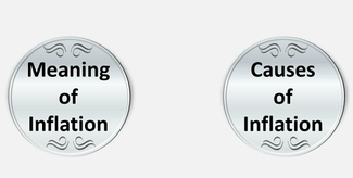 Two silver coins displaying words Meaning of Inflation and Causes of Inflation respectively