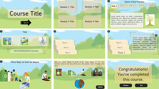 E-learning Template having six slides including tab interaction, roll-over interaction, process interaction, markers, quiz slide, objective slide